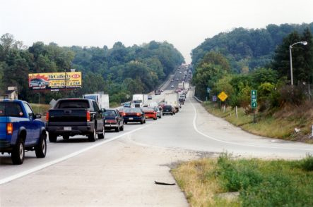 Northbound I-83 traffic in the morning peak period typically backs up beyond Limekiln Road, a distance of two miles